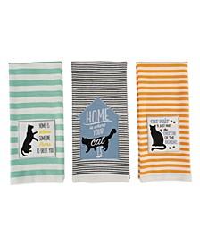 Asst Cats Meow Embellished Dishtowel Set of 3