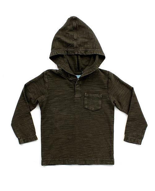 Bear Camp Big and Little Boy Mineral Wash Long Sleeve Henley Hood Tee