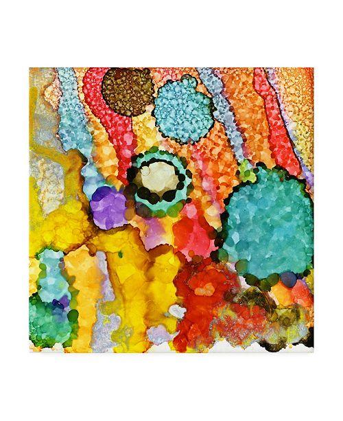 "Trademark Global Pat Saunders-White Amoeba Green Canvas Art - 15.5"" x 21"""
