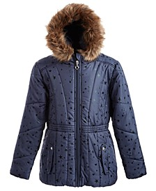 Big Girls Hooded Foil-Print Jacket With Faux-Fur Trim