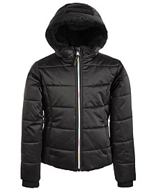 S Rothschild & CO Big Girls Hooded Rainbow-Zip Coat With Faux-Fur Trim