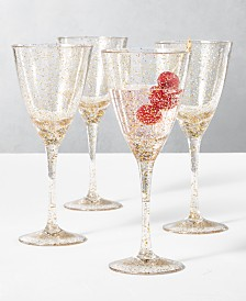 The Cellar Holiday Sayings Glitter Drinkware, Set of 4