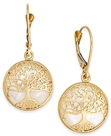 Mother-of-Pearl Family Tree Drop Earrings in 14k Gold