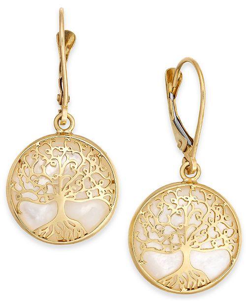 Macy's Mother-of-Pearl Family Tree Drop Earrings in 14k Gold