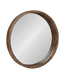 "Hutton Round Wood Wall Mirror - 22"" D"