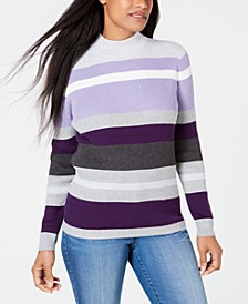 Petite Cotton Striped Ribbed Sweater, Created for Macy's