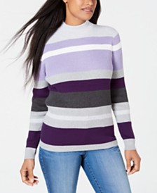 Karen Scott Petite Cotton Striped Ribbed Sweater, Created for Macy's