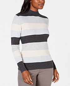 Petite Striped Mock-Neck Cotton Sweater, Created For Macy's
