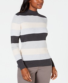 Karen Scott Petite Striped Mock-Neck Cotton Sweater, Created For Macy's