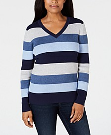 Petite Striped Ribbed-Knit Cotton Sweater, Created for Macy's