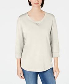 Karen Scott Cotton Studded 3/4-Sleeve Sweatshirt, Created for Macy's