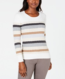 Karen Scott Holly Striped Cotton Cable Sweater, Created for Macy's