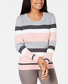 Petite Striped Cotton Cable-Knit Sweater, Created For Macy's