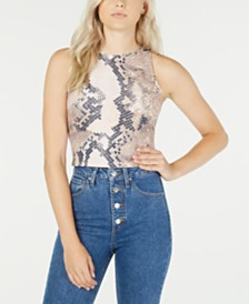 GUESS Sleeveless Printed Cropped Top