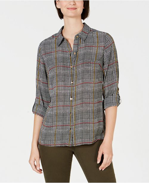 Charter Club Plaid Utility Shirt, Created for Macy's
