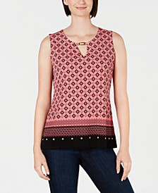Printed Keyhole-Neck Top, Created for Macy's