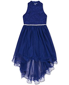 Big Girls Glitter Lace High-Low Hem Dress