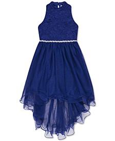Big Girls Glitter Lace High-Low Hem Dress