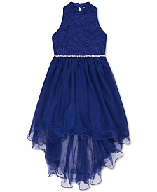 Speechless Big Girls Glitter Lace High-Low Hem Dress