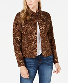 Charter Club Animal-Print Denim Jacket, Created for Macy's
