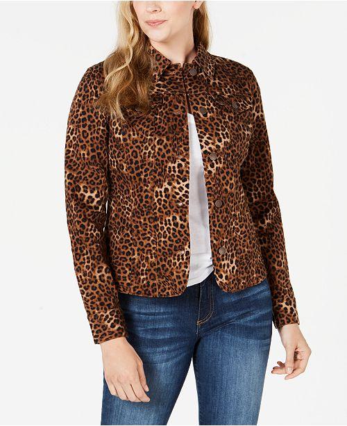 Charter Club Animal-Print Denim Jacket, Created for Macy's