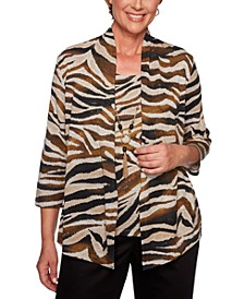 Petite Animal-Print Layered-Look Top