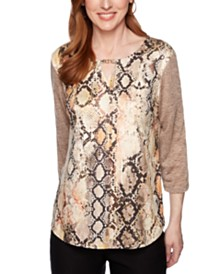 Alfred Dunner Petite Street Smart Printed Faux-Suede Top