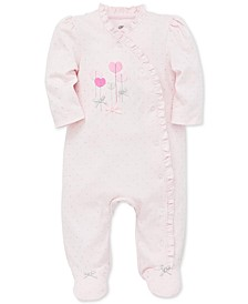 Baby Girls Ruffled Hearts Cotton Footed Coverall
