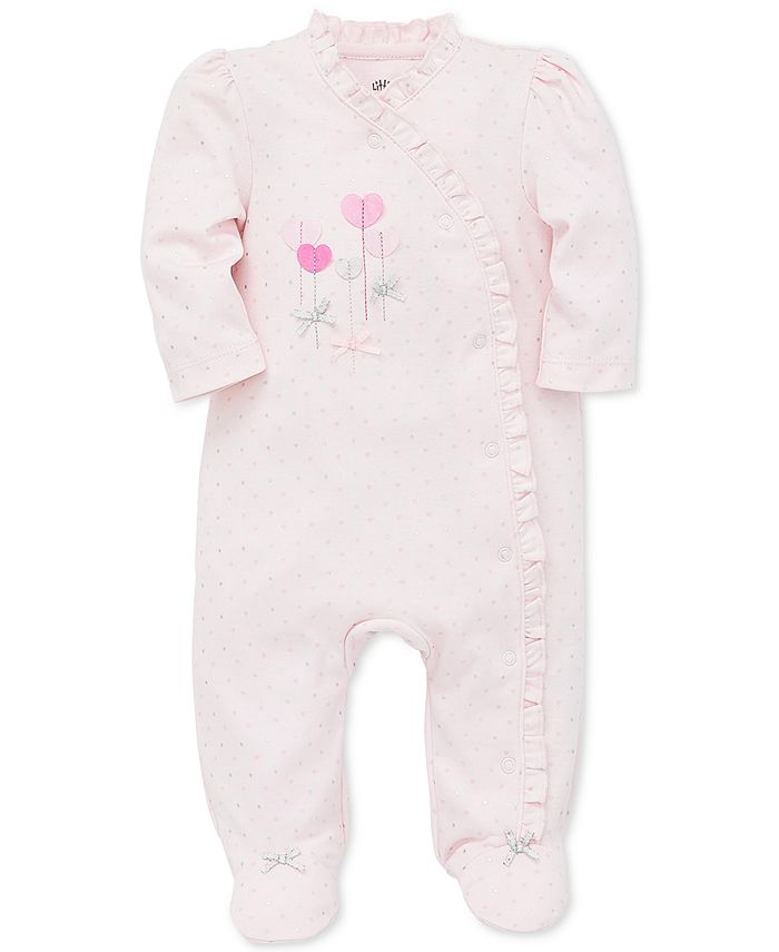 Little Me - Baby Girls Ruffled Hearts Cotton Footed Coverall