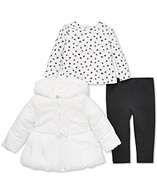 Baby Girls 3-Pc. Hooded Faux-Fur Jacket, Heart-Print Top & Pants Set