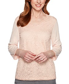 Petite Boardroom Lace-Front Circle-Trim Top