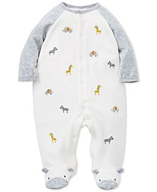 Baby Boys Embroidered Animals Footed Coverall