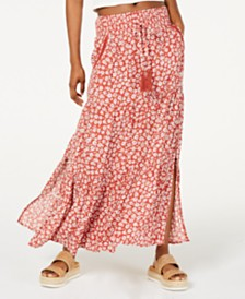 American Rag Juniors' Printed Smocked-Waist Maxi Skirt, Created for Macy's