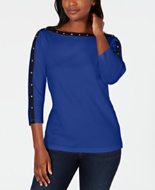 Karen Scott Stud-Trim 3/4-Sleeve Top, Created for Macy's
