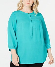 Plus Size Pleated-Back Henley Blouse, Created for Macy's