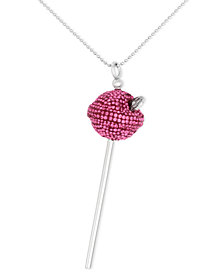 SIS by Simone I Smith Platinum Over Sterling Silver Necklace, Pink Crystal Lollipop Pendant