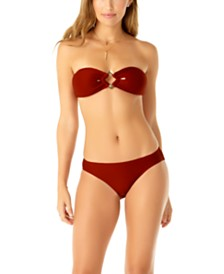 Anne Cole Studio Bandeau Bikini Top & Ribbed Bottoms