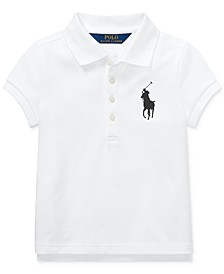 Little Girls Big Pony Stretch Mesh Polo Shirt