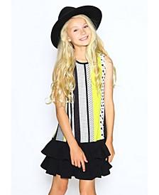 Toddler Girls A-Line Dress with Box Pleat Hem Skirt
