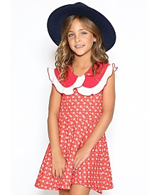 Lanoosh Toddler Girls Fit and Flare Round Collar Dress