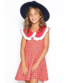 Lanoosh Toddler Girls Fit and Flare Round Collar Dress