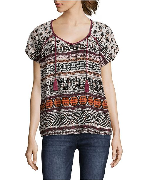 John Paul Richard Printed Peasant Top, Petite