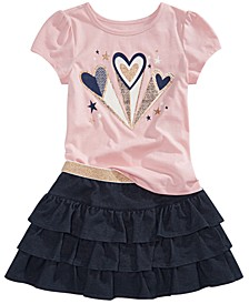 Little Girls Hearts T-Shirt & Tiered Skirt, Created for Macy's