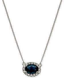"Sapphire (1-5/8 ct. t.w.) & Diamond (1/4 ct. t.w.) Halo 18"" Pendant Necklace in 14k White Gold"