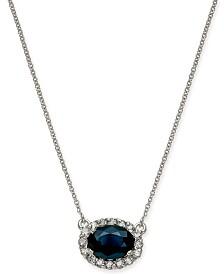 "Sapphire (1-5/8 ct. t.w.) & Diamond (1/4 ct. t.w.) Halo 18"" Pendant Necklace in 14k White Gold"