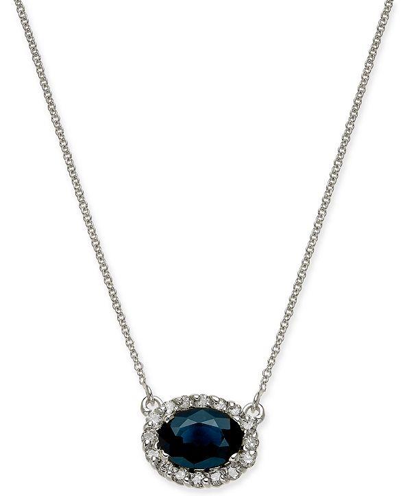 "Macy's Sapphire (1-5/8 ct. t.w.) & Diamond (1/4 ct. t.w.) Halo 18"" Pendant Necklace in 14k White Gold"