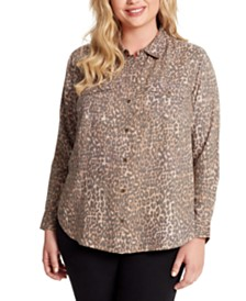 Jessica Simpson Petunia Plus Size Animal-Print Top
