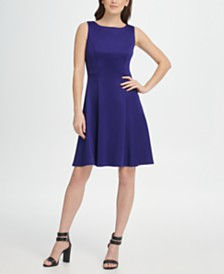 DKNY Scuba Fit  Flare Dress