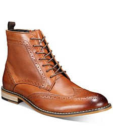 Hendrix Leather Wingtip-Toe Boots, Created for Macy's