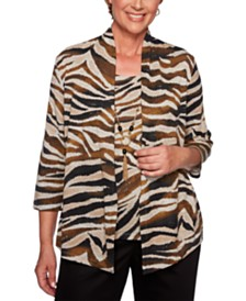 Alfred Dunner Street Smart Layered-Look Animal-Print Necklace Top